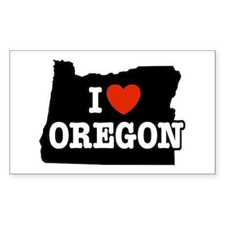 I Love Oregon Rectangle Sticker
