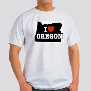 I Love Oregon Ash Grey T-Shirt