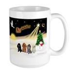 Night Flight/4 Poodles Large Mug