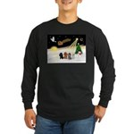 Night Flight/4 Poodles Long Sleeve Dark T-Shirt