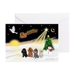 Night Flight/4 Poodles Greeting Cards (Pk of 10)