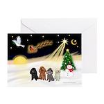Night Flight/4 Poodles Greeting Cards (Pk of 10)