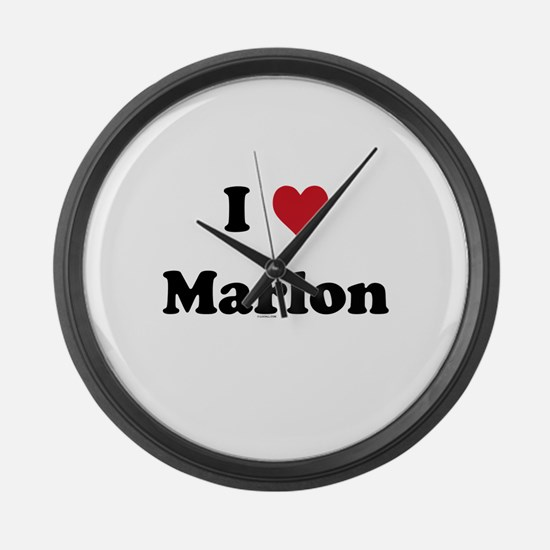 I love Marlon Large Wall Clock