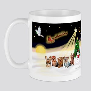 Night Flight/5 Yorkies Mug