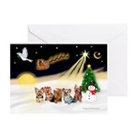 Night Flight/5 Yorkies Greeting Card