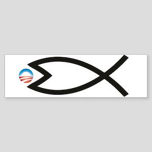 Jesus Fish Eats Obamessiah Bumper Sticker