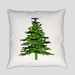 Christmas Bat Tree Everyday Pillow