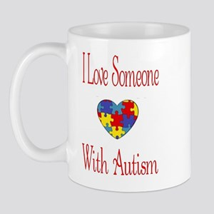 Love Someone with Autism Puzzle Heart Mug