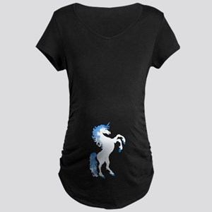 Blue Unicorn Maternity Dark T-Shirt