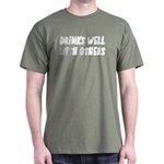 Drinks Well With Others Funny Dark T-Shirt