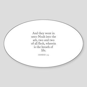 GENESIS 7:15 Oval Sticker