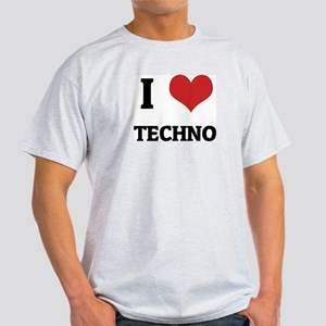 I Love Techno Ash Grey T-Shirt