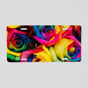Rainbow Roses Aluminum License Plate