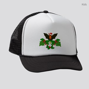 Christmas Holly With Bat Kids Trucker hat