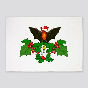 Christmas Holly With Bat 5'x7'Area Rug