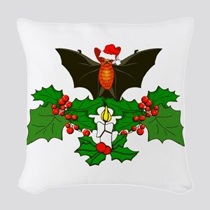 Christmas Holly With Bat Woven Throw Pillow