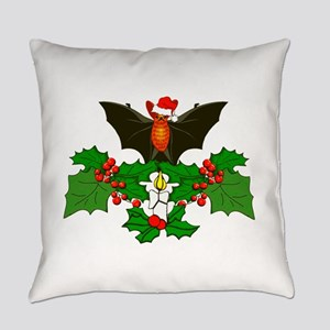Christmas Holly With Bat Everyday Pillow