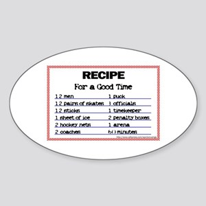 Hockey recipe. Oval Sticker