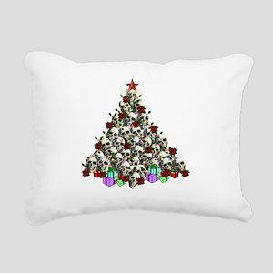 Merry Christmas Skulls Rectangular Canvas Pillow