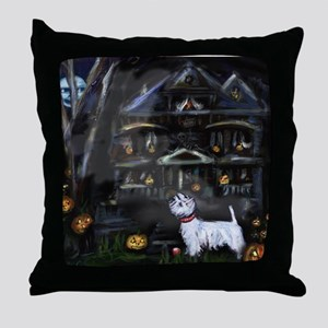Haunted House Westie Throw Pillow