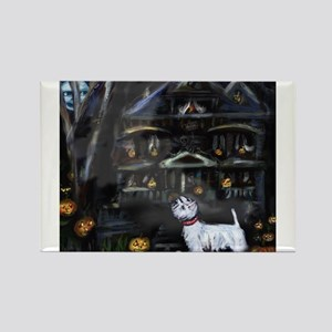 Haunted House Westie Rectangle Magnet