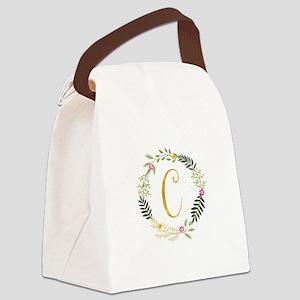 Gold Initial Leaf Wreath Canvas Lunch Bag