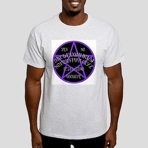 Purple Pentagram Board Ash Grey T-Shirt