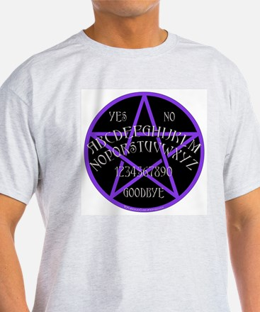 Purple Pentagram Board Ash Grey T-Shirt