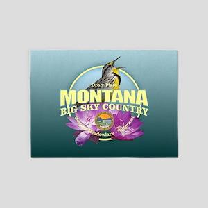 Montana State Bird & Flower 5'x7'Area Rug