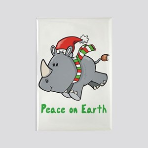 Peace Rhino Rectangle Magnet