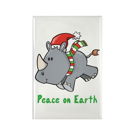 Peace Rhino Rectangle Magnet (10 pack)