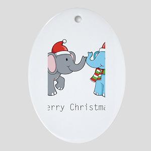 Elephant Christmas Oval Ornament