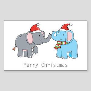 Elephant Christmas Rectangle Sticker