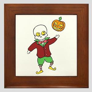 Skeleton and Pumpkin Framed Tile
