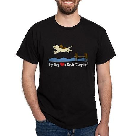 Cartoon Dock Jumping Dark TShirt (White Txt)