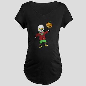 Skeleton and Pumpkin Maternity Dark T-Shirt