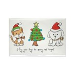 Cat and Dog Christmas Rectangle Magnet (100 pack)