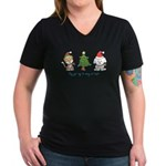 Cat and Dog Christmas Women's V-Neck Dark T-Shirt
