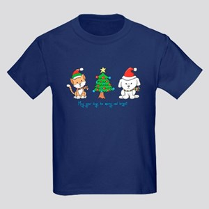 Cat and Dog Christmas Kids Dark T-Shirt
