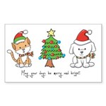 Cat and Dog Christmas Rectangle Sticker 10 pk)