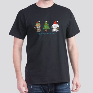Cat and Dog Christmas Dark T-Shirt
