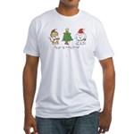 Cat and Dog Christmas Fitted T-Shirt