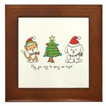 Cat and Dog Christmas Framed Tile