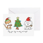Cat and Dog Christmas Greeting Cards (Pk of 10)