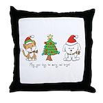 Cat and Dog Christmas Throw Pillow