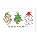 Cat and Dog Christmas Postcards (Package of 8)