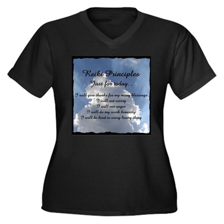 Reiki Principles Women's Plus Size V-Neck Dark T-S