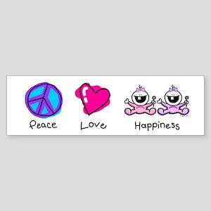 Peace Love and Twin Girls Bumper Sticker