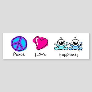 Peace Love and Twin Boys Bumper Sticker