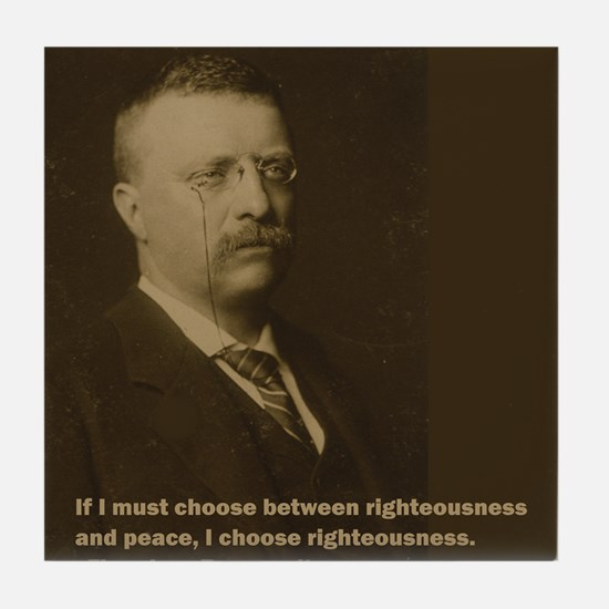Theodore Roosevelt Quote Tile Coaster